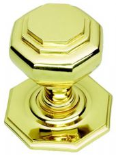 Octagonal Centre Door Knob in Polished Brass